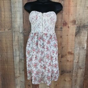 Poetry Floral Strapless Short Mid Dress Front Zip